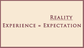 Equation Tales for our Times Experience Equals Reality Divided by Expectations